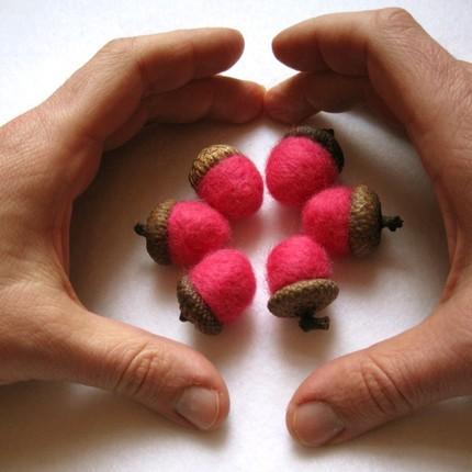 Pink acorns